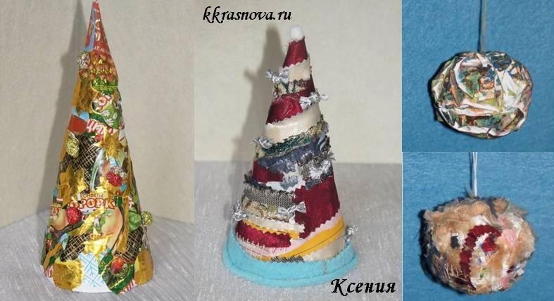 Елки и игрушки из ткани и фантиков