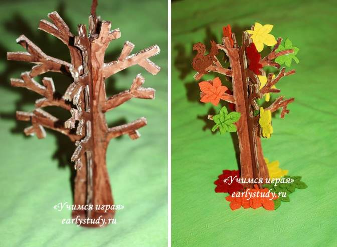 Осеннее дерево поделка с ребенком